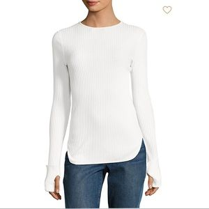 Helmut Lang Rib Knit Cotton White Long Sleeve Top
